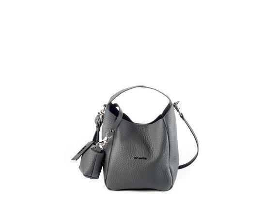 Lilibeth Small<br />Small smog-grey leather bucket bag