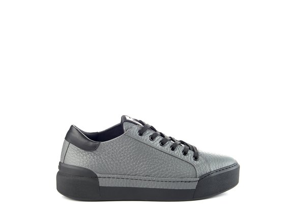 Men's grey leather lace-up trainers