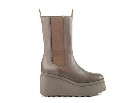 High clay-grey calfskin Beatle boots with wedge