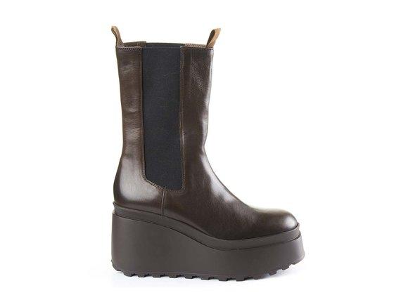 High dark brown calfskin Beatle boots with wedge