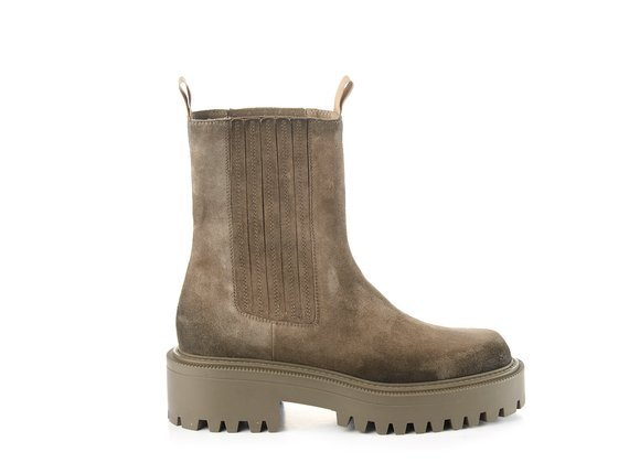 Roccia-sole Beatle boots in clay-grey split leather - Mud
