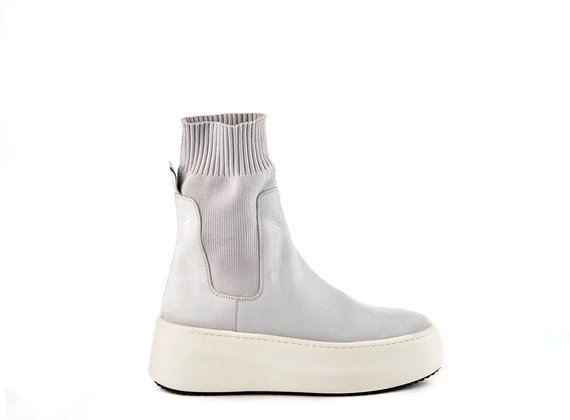 Ice-white high-top platform trainers in nubuck/knit fabric