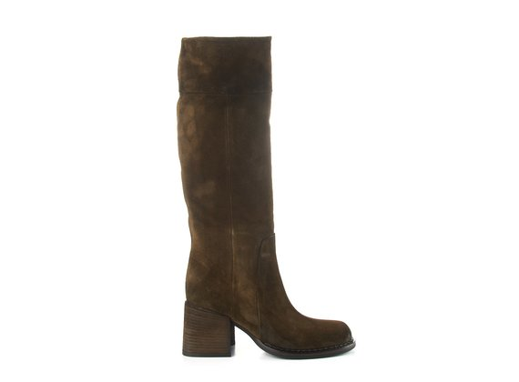 Brown split leather tube boots with chunky heel