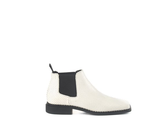Quadro Flat low-top Beatle boots in etched white calfskin