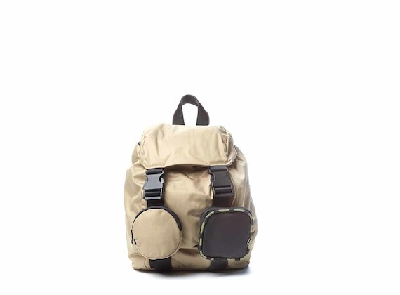 Becky<br />Beige backpack with removable pockets - Brown