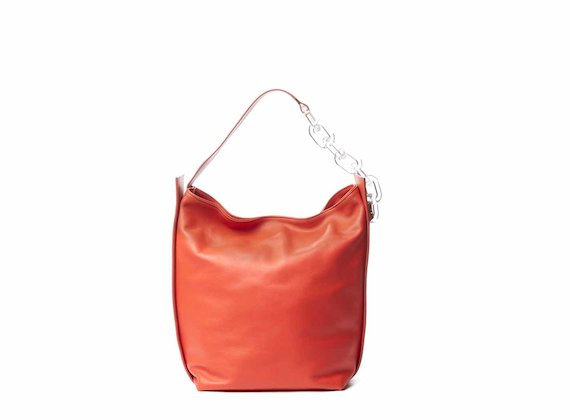 Hoshi<br />Coral red bucket bag with plexiglass strap