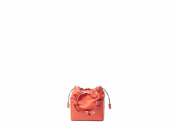 Hazel<br />Coral red mini bag with plexiglass handle