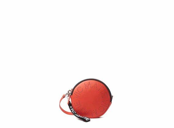Noriko<br />Borsa disco con logo traforato corallo