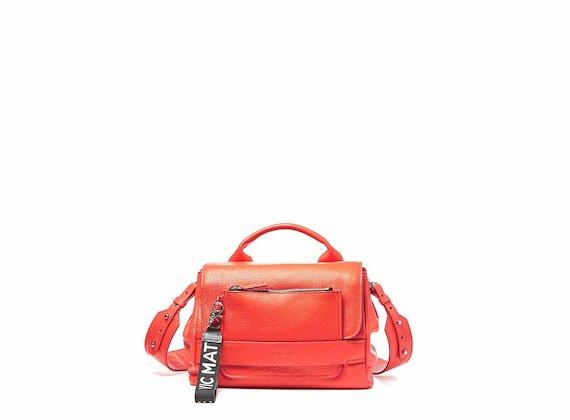 Uma<br />Supple coral red satchel bag with pocket - Red