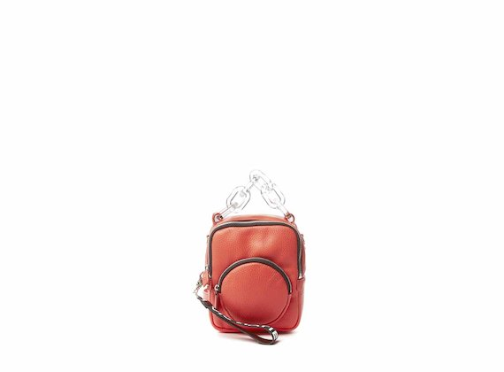 Beverly<br />Mini coral red backpack with plexiglass handle - Red