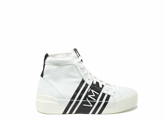 Lace-up high tops with enveloping print