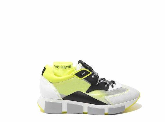Chaussures de course blanc et jaune avec empeigne transparente