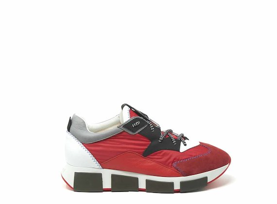 Red nylon and leather running shoes