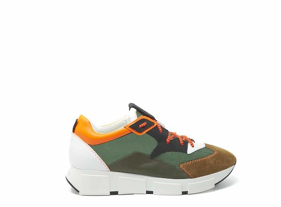 Colour block nylon and leather running shoes