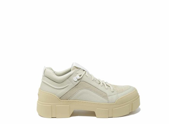 Beige lace-ups with lug soles