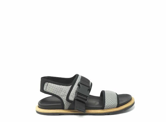 Grey mesh sandals with clip fastening