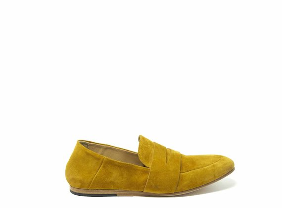 Mustard yellow suede moccasins