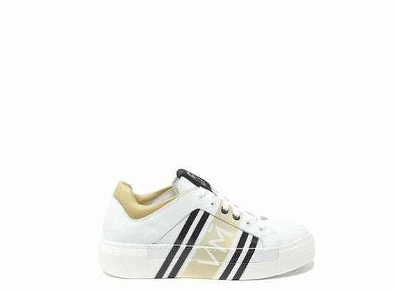 Sneakers beiges à imprimé numérique - Multicolor