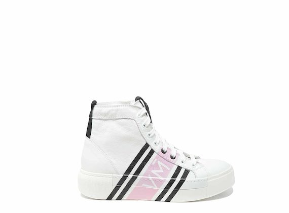 Lace-up high tops with enveloping digital pink print