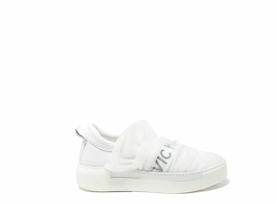 Draped-effect slip-ons in white mesh