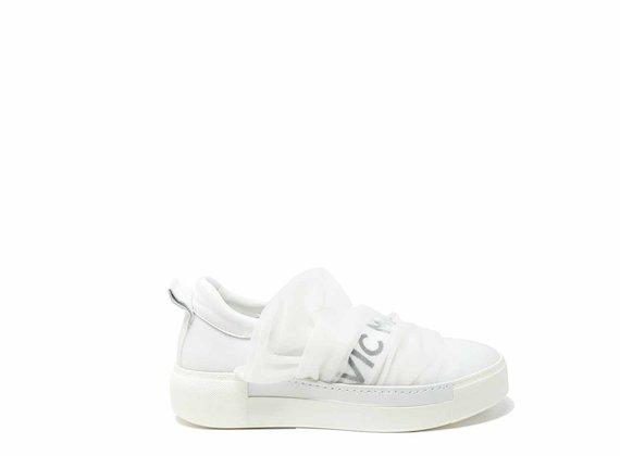 Slip-on drapés en maille blanche - Blanc