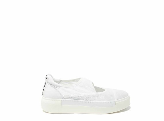 White mesh slip-ons with cut-out