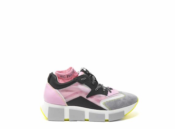 Grey/pink running shoes with see-through upper