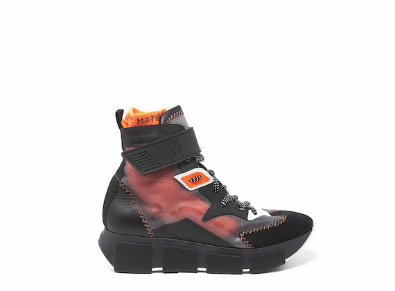 Black/orange/see-through high-tops with rubber-strap fastening