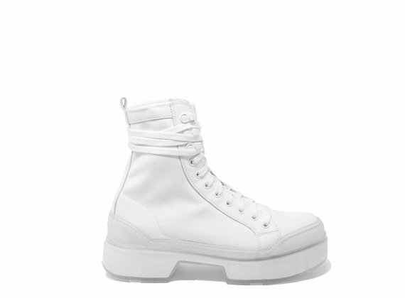 Technical-fabric combat boots with see-through lug soles