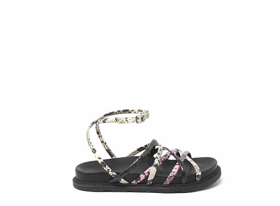 Snakeskin-effect sandals with criss-crossing strips