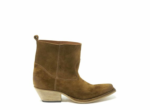 Tobacco brown suede cowboy boots - Brown