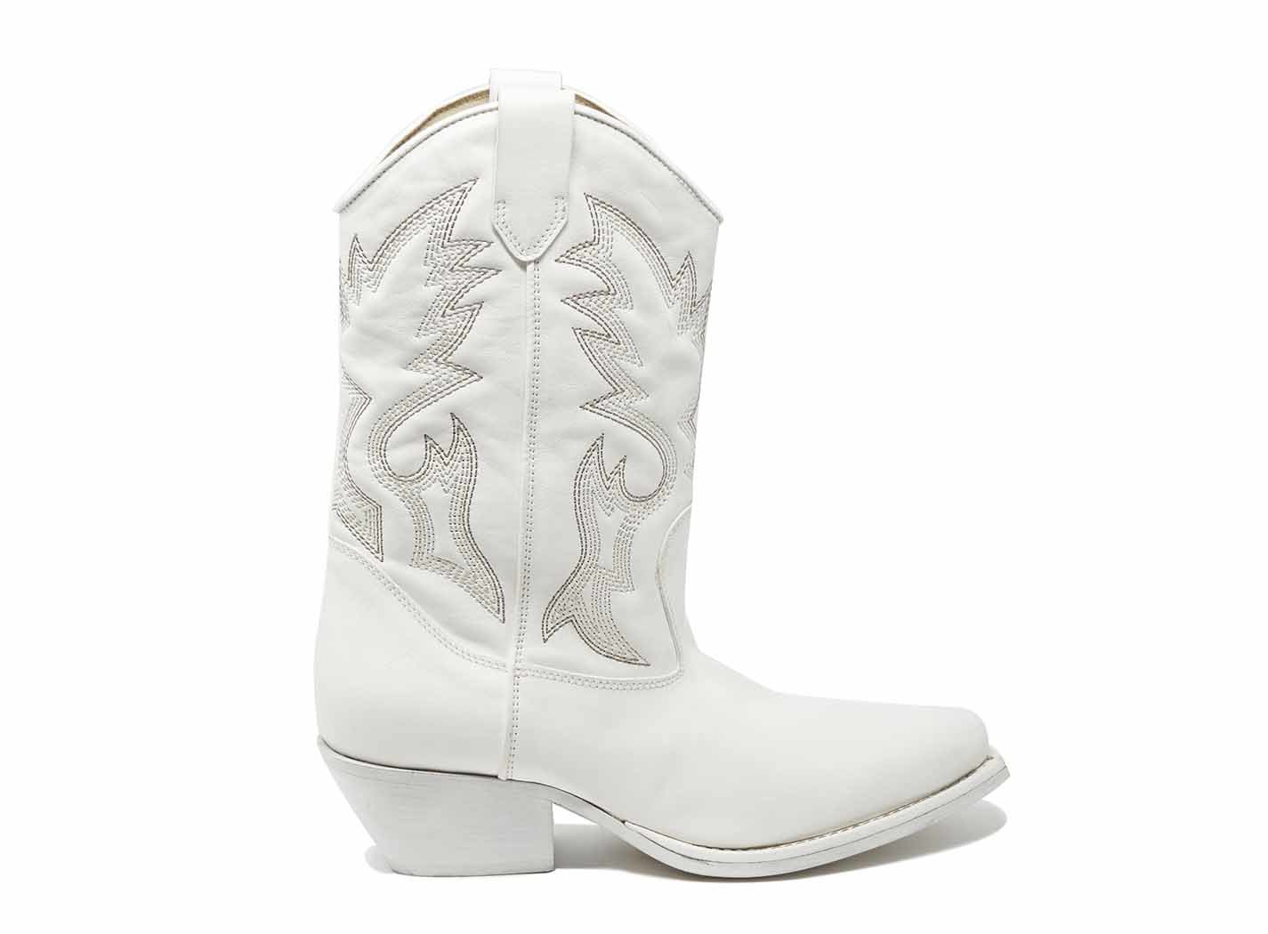 White Cowboy Boots With 3D Embroidery