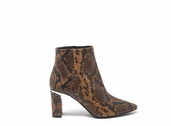 Snakeskin-effect ankle boots with block heels