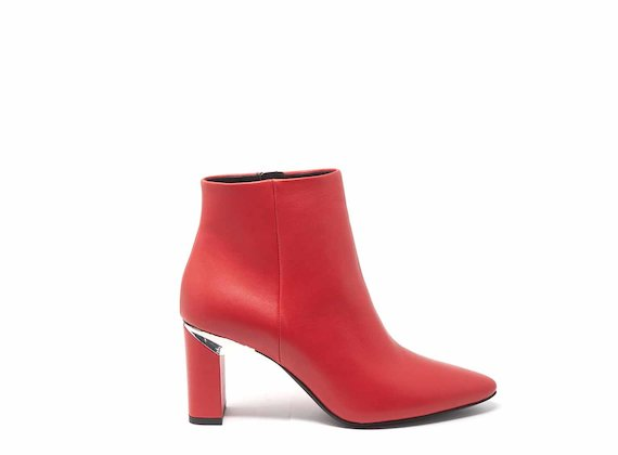 Red ankle boots with block heels