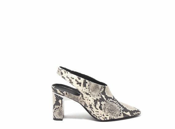 Snakeskin-effect slingbacks with block heels