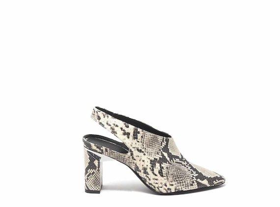 Snakeskin-effect slingbacks with block heels