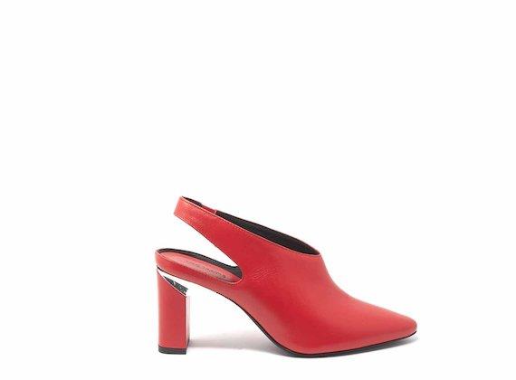 Red slingbacks with block heels