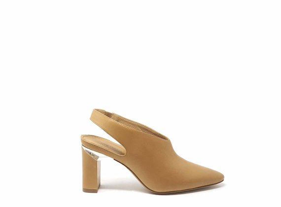 Tan slingbacks with block heels