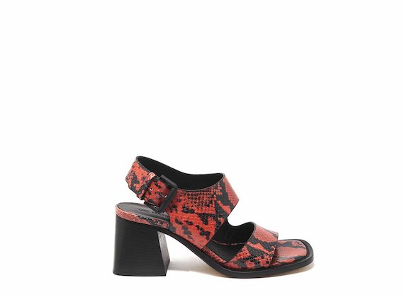Snakeskin-effect sandals with asymmetric bands