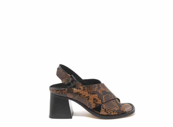 Snakeskin-effect sandals with square toes