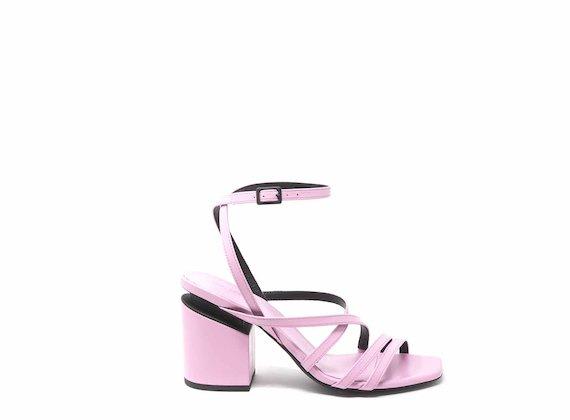 Sandalo su tacco sospeso con mignon intrecciati rosa