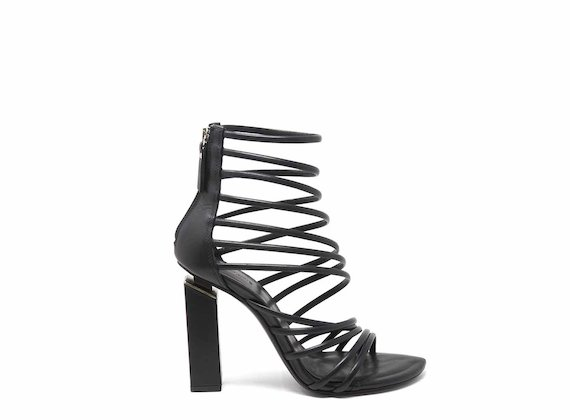 Gladiator sandals with black strips