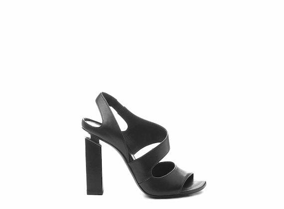 Sandale à bout et talon ouverts noires
