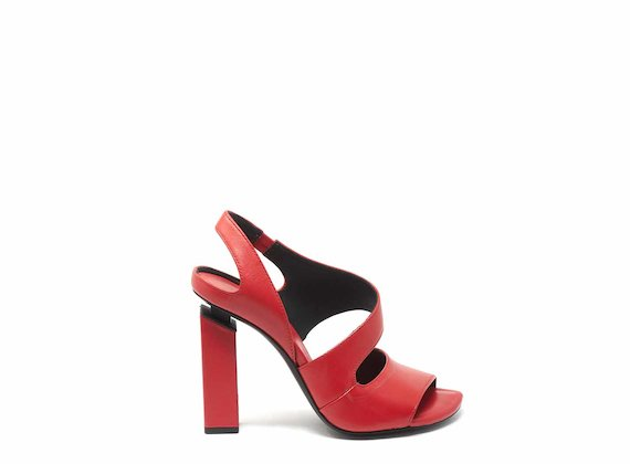Sandale à bout et talon ouverts rouges