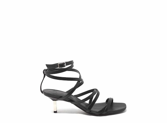 Sandals with kitten heel and ankle straps