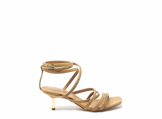 Sandalo intrecciato con strass