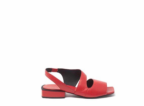Sandales rouges à bout ouvert