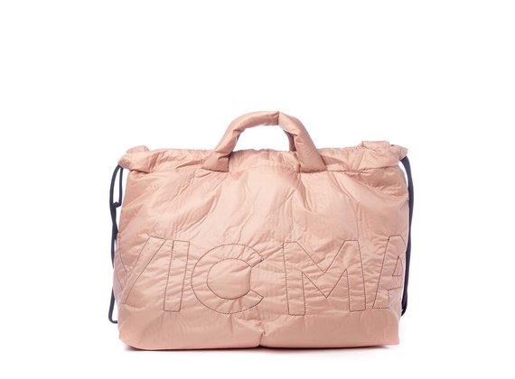 Penelope<br />Verschließbare Maxi-Tasche aus puderfarbenem Nylon