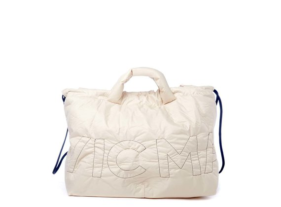 Penelope<br />Large collapsible bag in ivory-coloured nylon