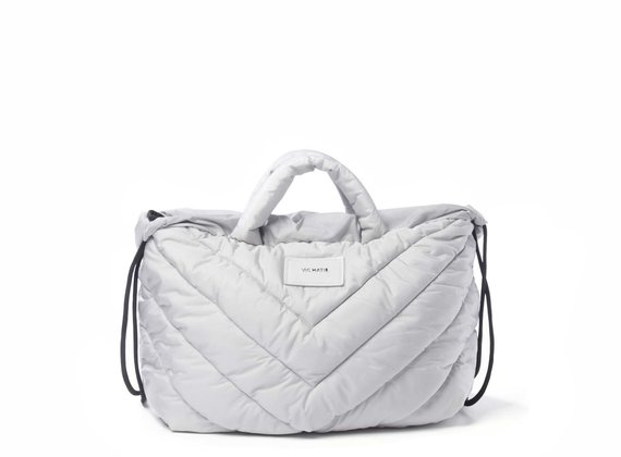 Penelope T.<br> collapsible backpack in quilted ice-white nylon
